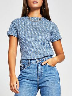 river-island-all-over-branded-turnback-sleeve-t-shirt-blue