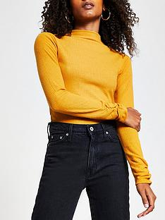 river-island-high-neck-jersey-top-mustard