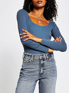 river-island-scoop-neck-jersey-top-blue