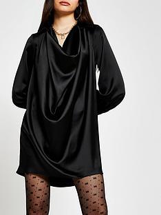 river-island-cowl-shirt-dress-black