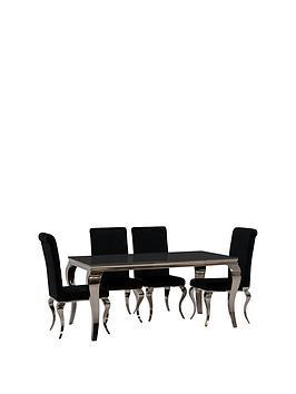 vida-living-ohio-200-cm-diningnbsptable-nbsp6-chairs-black
