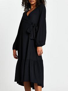 river-island-side-bow-wrap-midi-dress-black