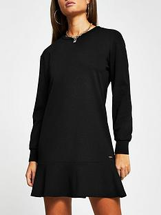 river-island-frill-hem-jersey-dress-black