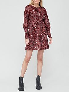river-island-leopard-print-waisted-seam-mini-dress-brown