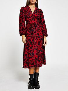 river-island-floral-midi-dress-red