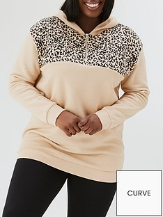 v-by-very-curve-animal-colour-block-half-zip-hoodie-pink-colour-block