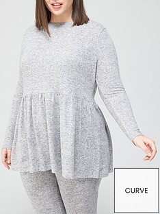 v-by-very-curve-loungewear-soft-touch-smock-top-grey
