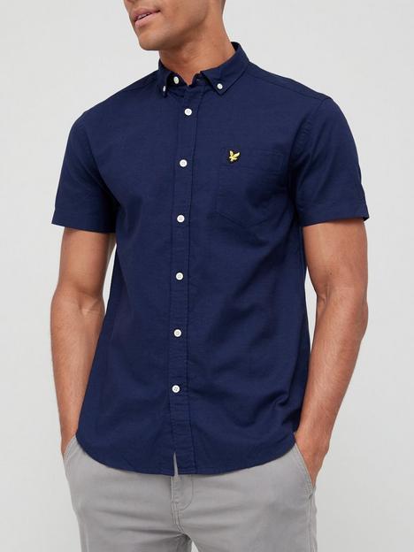 lyle-scott-short-sleeve-oxford-shirt-navy