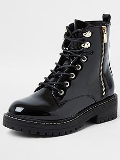 river-island-wide-fit-patent-lace-up-chunky-boot-black