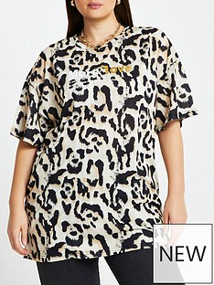 river-island-ri-plus-oversized-leopard-more-love-tee-brown