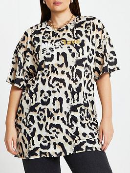 Ri Plus Oversized Leopard More Love T-Shirt - Brown