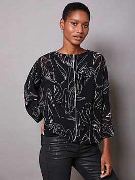 mint-velvet-swan-print-layered-top-black