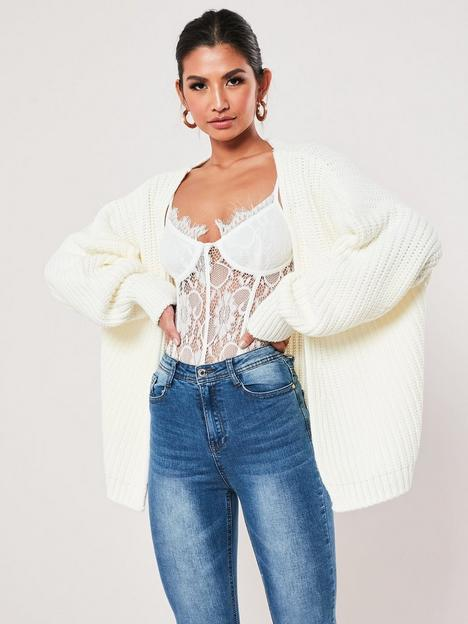 missguided-missguided-batwing-sleeve-oversized-knitnbspcardigan-white