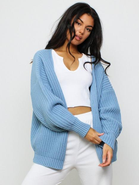 missguided-missguided-batwing-sleeve-oversized-knit-cardigan-blue