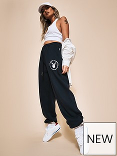 missguided-missguided-playboy-varsity-pin-tuck-oversized-joggers-navy