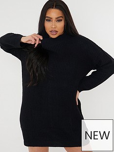 missguided-plus-missguided-plusnbsproll-neck-jumper-dress-black