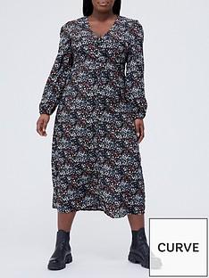 missguided-plus-missguided-plus-v-neck-button-front-midi-dress-black