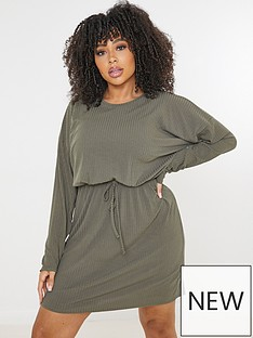 missguided-plus-missguided-plusnbspribbed-tie-waist-t-shirt-dress-khaki