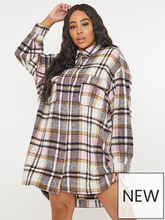 missguided-plus-missguided-plusnbspbrushed-checknbspoversized-shirt-dress-pink