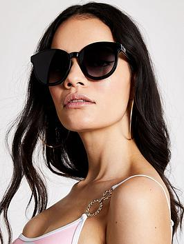 River Island Dua Flat Lens Sunglass - Black, Black, Women