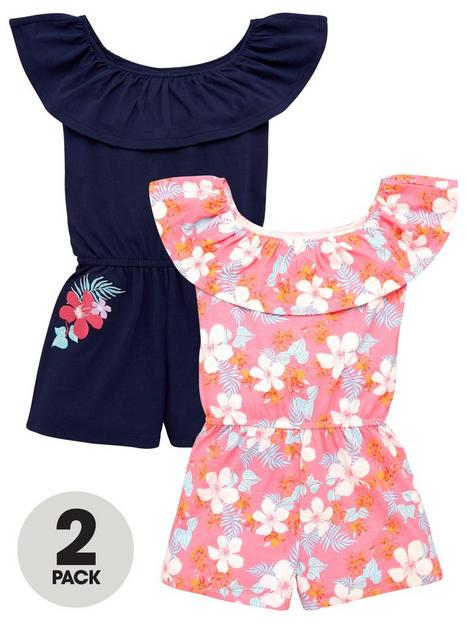 v-by-very-girls-2-pack-print-and-plain-jersey-playsuits-multi