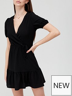 v-by-very-wrap-mini-dress-black