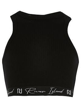 River Island Racer Crop Top - Black , Black, Size Age: 7-8 Years, Women