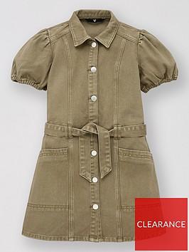 v-by-very-girls-denim-button-up-dress-khaki