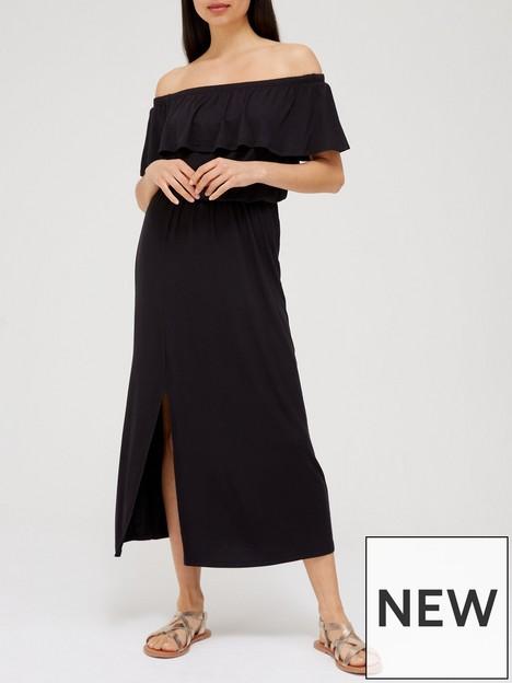 v-by-very-frill-bardot-midi-dress-black