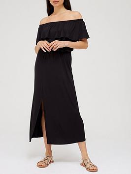V By Very Frill Bardot Midi Dress - Black