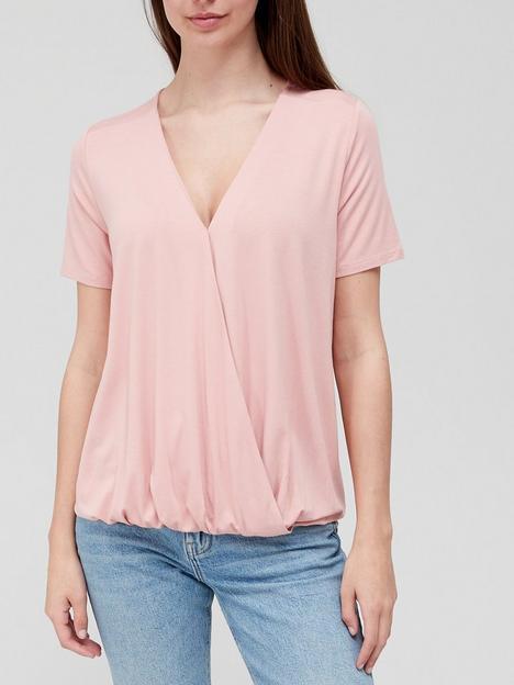 v-by-very-short-sleeve-v-wrap-top-dusky-pink
