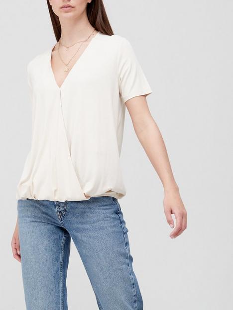v-by-very-short-sleeve-v-wrap-top-off-white