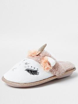 river-island-girls-unicorn-slipper-white