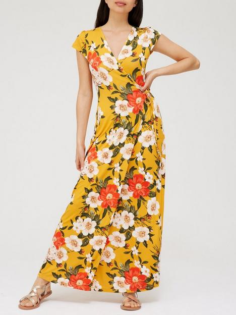 v-by-very-short-sleeve-wrap-jersey-maxi-dress-mustard-floral