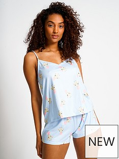 loungeable-giraffe-strappy-top-and-shorts-pj-set-light-blue