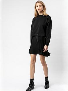 religion-studded-waistband-flippy-mini-skirt-black