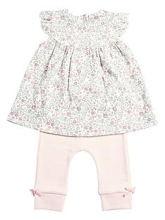 mamas-papas-baby-girls-printed-top-rib-legging-set-pink