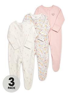 mamas-papas-baby-girls-3-pack-floral-pop-sleepsuits-multi