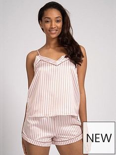 loungeable-striped-satin-cami-and-shorts-pj-set-pink-white
