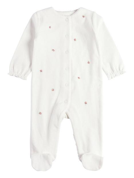 mamas-papas-baby-girls-embroidered-flower-all-in-one-pink