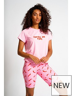 loungeable-youre-on-fire-t-shirt-and-short-pj-set-pink