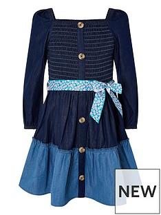 monsoon-girls-denim-shirred-puff-sleeve-dress-blue