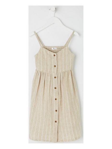 v-by-very-mini-me-family-linen-blend-dress-brown
