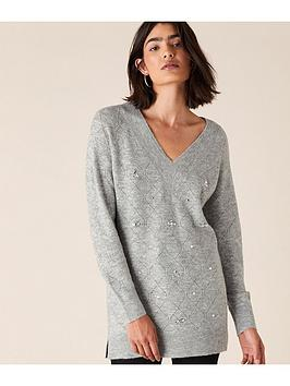 monsoon-embellished-pointelle-stitch-jumper-grey