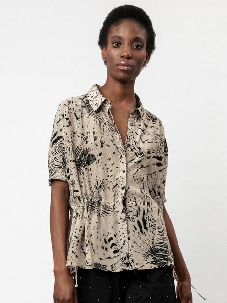 religion-printed-oversized-drawstring-shirt-stone