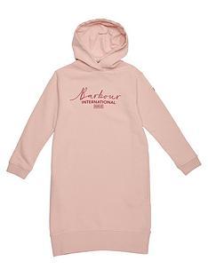 barbour-international-girls-grid-hooded-sweat-dress-pink