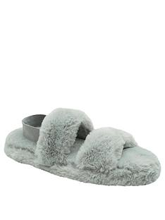 loungeable-loungeable-grey-two-bar-fluffy-slider-with-elastic-ankle-strap