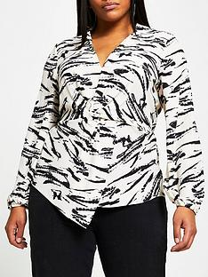 ri-plus-tina-twist-front-blouse-multi