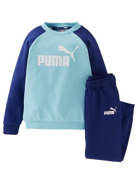 puma-minicats-essential-raglan-jogger-set-blue