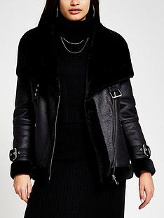 river-island-shearling-fallaway-aviator-black